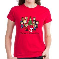 CafePress The Peanuts Gang: Christmas i Womens Dark T-Shirt