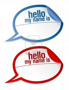 Color name tag blank stickers hello my name is, in form of speech bubbles. Stock Photo