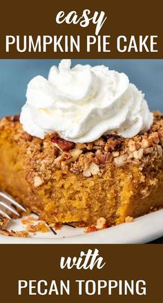 Jazz up a boxed cake mix for an amazingly easy pumpkin pie cake that your family will love! Topped with brown sugar and pecans, every bite is a pumpkin spice dream. Once upon a time a reader made our pumpkin dump cake, but didn't quite follow the instructions. What she thought would be a total failure, ended up being a deliciously easy pumpkin pie cake that her family loved! We couldn't help but try this ourselves. And we were pleased with the delicious results. Let's make this easy cake!