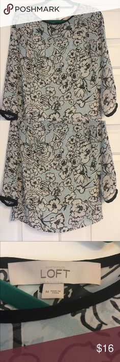Sheer flower print Loft by Anne Taylor blouse Sheer flower print blouse from Lift by Anne Taylor. Worn once, no stains or holes, from a smoke free home. Size medium LOFT Tops Blouses