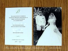 marta writes: custom made / anniversary party invitations Mom Dad Anniversary, 60th Anniversary Parties, 50th Wedding Anniversary Invitations, Golden Wedding Anniversary, Anniversary Ideas, Wedding Aniversary, Anniversary Pictures, Decoration, Just In Case