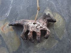 Weathered Mustang Pendant. Artisan Handmade Rustic by foxpaws