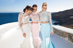 Top High Neck Long Sleeve Lace Mermaid Two Piece african Prom Dress Crop Gowns Vestido De Festa Formal prom dress Prom Dresses Two Piece, Prom Dresses 2015, Prom Dresses Long With Sleeves, Cheap Prom Dresses, Two Piece Dress, Bridesmaid Dresses, Formal Dresses, Bridesmaids, Outfits