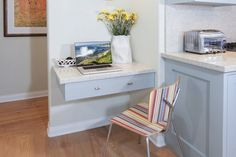 21 Small Desk Ideas For Small Spaces In this blue kitchen renovated by Sarah Barnard Design, a floating desk drawer with a quartz topper creates an office nook perfect for referencing online recipes. Floating Shelf With Drawer, Black Floating Shelves, Floating Shelves Bedroom, Floating Shelves Kitchen, Rustic Floating Shelves, Floating Desk, Home Office Space, Home Office Design, Home Office Decor