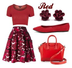 """""""Red"""" by lexine-ll ❤ liked on Polyvore featuring Topshop, Marc Jacobs, Breckelle's, Givenchy, women's clothing, women's fashion, women, female, woman and misses"""