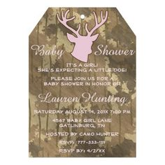 Hunting Funny Camouflage Pink Brn Girl Baby Shower Personalized Invites