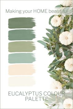 Native to Australia, Eucalyptus with its fresh menthol aroma, is a great addition to any room in the house. With its palette of greens and duck egg blue, it is unlike any other greenery. Let me show you some styling ideas and ways to introduce this gorg Room Colors, House Colors, Paint Colors For Home, Paint Colours, Color Pallets, Green Colors, Green Color Schemes, Interior Colour Schemes, Home Color Schemes