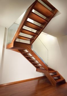Staircase with Wooden Band and Steps by Marretti, Made in Italy Wooden Stairs