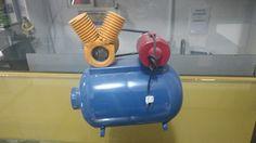 Compressor de ar feito de extintor de incêndio automotivo