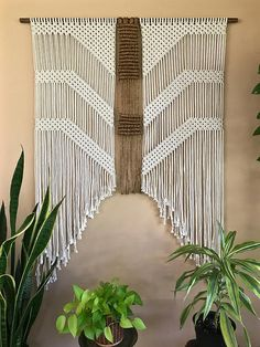 This extra large macrame wall hanging was made from a combination of natural white cotton and jute rope, and hangs from a hand stained wooden dowel. A unique piece that is sure to add texture and interest to any room! Would make a lovely gift! Wooden dowel is 48, measures approx. 60 long. This item is READY TO SHIP! ✦ Shop Dowel Wall Hangings ✦ www.etsy.com/shop/BermudaDream?section_id=18034902 ✦ Shop Brass Ring Wall Hangings ✦ www.etsy.com/shop/BermudaDream?secti...
