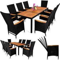 Amazon.de: PolyRattan Sitzgruppe 8+1 Neigbaren Rückenlehnen Tisch Aus  Akazienholz Gartenmöbel Gartenset