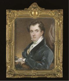 ENGLISH SCHOOL, CIRCA 1825 A young gentleman called Thomas H. Perkins, in gray coat with black collar and white shirt, seated at his desk leaning his left elbow on a chair; drapery background signed and dated 'Ch Ch Can S K 1825', ormolu frame rectangular, 3 7/8 x 2 15/16 in. (98 x 75 mm.) Gray Coat, Miniature Portraits, Antique Frames, 16th Century, Ivory, English, Antiques, School, Artwork