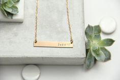 Long Bar Necklace, Gold Bar, Silver Bar, Name, Date, Initial by pixleypressed