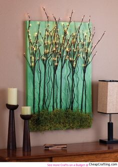 A #DIY #project for this fabulous canvas wall #art with light up branches! Looks expensive but is super #cheap
