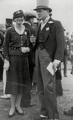 Coco Chanel is pictured with Winston Churchill's son Randolph at Ascot in the mid-1930s