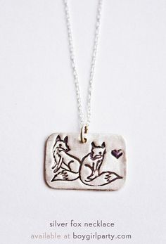 Fox Necklace - Silver Fox Pendant available at boygirlparty.com