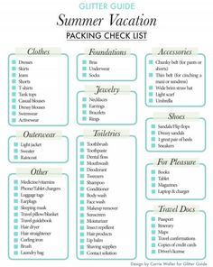 Vacation Packing Check List