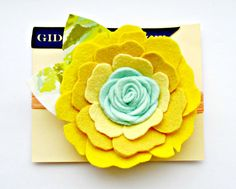 Amazing headbands and clips at this shop! Felt Flower Headband - Peony in yellow and mint with vintage fabric leaves
