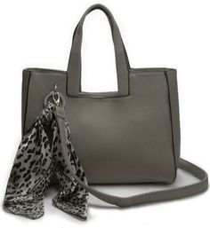 Lovely grey day handbag with scarf. Long and short straps. Also comes in navy, beige, green, black, blue and purple. Sold by Love Viva. https://www.facebook.com/LoveVivaaccessories