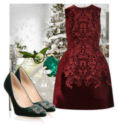 """""""Party season #3"""" by jacisummer ❤ liked on Polyvore featuring CARAT* London, Marchesa, McQ by Alexander McQueen and Manolo Blahnik"""