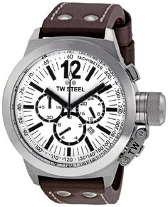 BEST PRICE TW Steel Men's CE1007 CEO Canteen Brown Leather White Chronograph Dial Watch