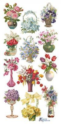 Floral Vases Victorian Stickers