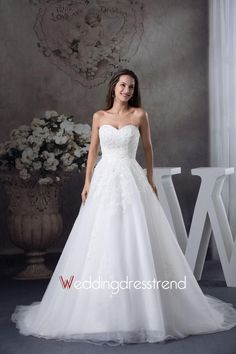 Sweetheart Ruched Chapel Train Wedding Dress with Ribbon and Flower http://www.weddingdresstrend.com/en/sweetheart-ruched-chapel-train-wedding-dress-with-ribbon-and-flower.html #Wedding #dress