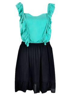 Black and Turquoise Ruffled Dress