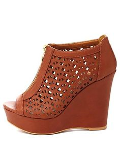 Qupid Zip-Up Cut-Out Peep Toe Wedges #CharlotteRusse #wedges #shoes