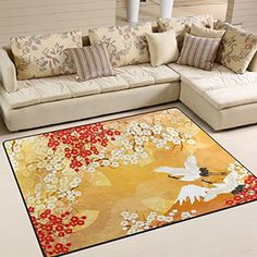 ALAZA Japanese Stylish Crane Cherry Blossom Area Rug Rugs...