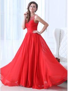 A-Line/Princess Scoop Neck Floor-Length Chiffon Prom Dress With Ruffle Beading (018043928) - JJsHouse