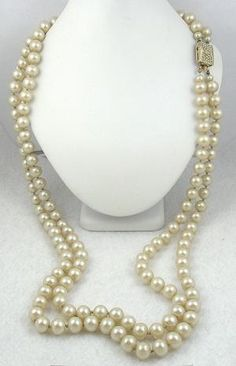 Vendome Double Strand Faux Pearl Necklace - Garden Party Collection Vintage Jewelry