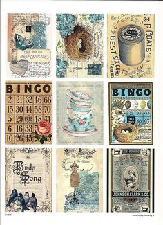 vintage decoupage 39 little birds Welcome to Hobby Profitable Online Papel Vintage, Vintage Tags, Vintage Labels, Vintage Ephemera, Vintage Paper, Atc Cards, Journal Cards, Junk Journal, Printable Labels