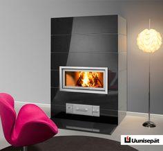 Black stylish fireplace from Technistone.
