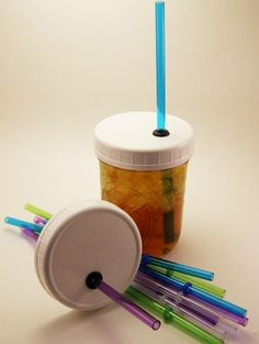 Ball/Mason Jar Wide Mouth LIDS with straws  NEED!