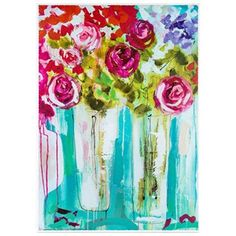 """Allow the decor in your home or office to blossom into beauty. Featuring a painted look,Bright Flowers in Vase Canvas Art displays an arrangement of red, pink, and purple flowers in vases. The artwork style adds additional visual interest to an already beautiful display that is perfect for living rooms, bedrooms, offices, guest rooms, and more!        Dimensions:      Length: 36""""    Width: 24""""    Thickness: 1 1/2""""          Hanging Hardware:   ..."""