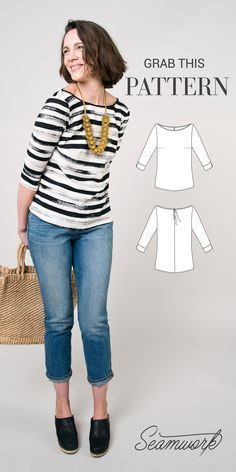 cool Free pattern! This sewing pattern for the York top from Seamwork is so versatile...