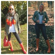 #pinneditthriftedit military green jacket // leopard scarf // jeggins // hunter orange boots // goodwill outfit // fall outfit