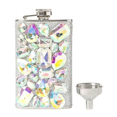 Iridescent Crystal Bling Flask and Funnel Set