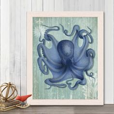 Octopus Nautical print sea life poster beach home decor wall decor marine painting nautical decor bathroom decor Bathroom art ocean decor Octopus Wall Art, Octopus Print, Nautical Bathroom Decor, Bathroom Art, Crab Art, Life Poster, Coastal Art, Fine Art Paper, Fine Art Prints