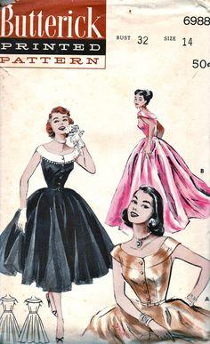SALE Vintage 1950s Butterick Pattern 6988 GLAMOROUS by anne8865