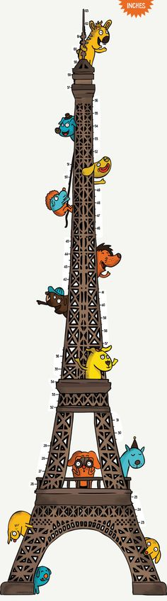 Height Chart  Inch: Eiffel Tower Zoo - Height Chart Wall Decal / Vinyl Sticker on Etsy, $34.99