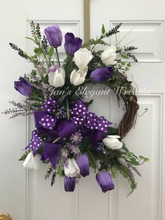 A personal favorite from my Etsy shop https://www.etsy.com/listing/587106897/spring-wreath-spring-tulip-wreath-purple