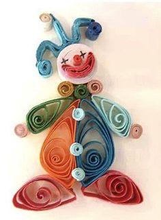 clown ( gemaakt m.b.v. Filigrein techniek, dunne strookjes papier oprollen)