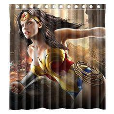 Wonder Woman Marvel Shower Curtain Superhero Curtains At RodsAndCurtains Custom