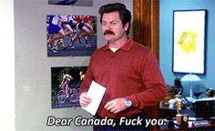 ronswanson, hates, Canada GIF