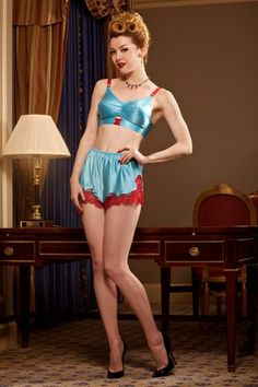 Brightly toned bullet bra set from Secrets in Lace. See more vintage style lingerie at VintageDancer.com
