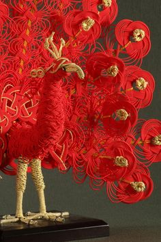 Red peacock by Hiromi Nagasawa, via 500px | Reference for #Ziz. #WotA