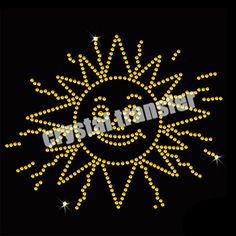 Rhinestone Iron on Sun With Smile Transfers Embellishment