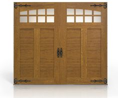 """The Canyon Ridge Collection Ultra-Grain Series garage door features a 2"""" polyurethane insulated steel base door with a durable, natural-looking, woodgrain paint finish.  Stained Clear Cypress composite overlays are applied to the steel door surface to create beautiful carriage house designs. Design 12, Arch4 windows in Medium stained finish. www.clopaydoor.com."""